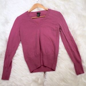 Theory 100% Cashmere Sweater Ribbed Purple V Neck